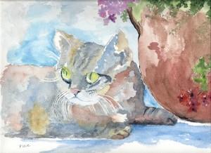 le chat en aquarelle dans annuaire numerisation0002-21-300x218