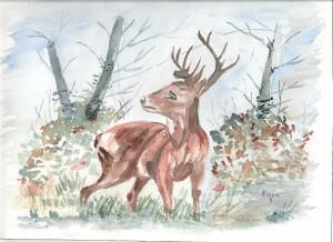 le cerf en aquarelle dans annuaire numerisation0001-34-300x218